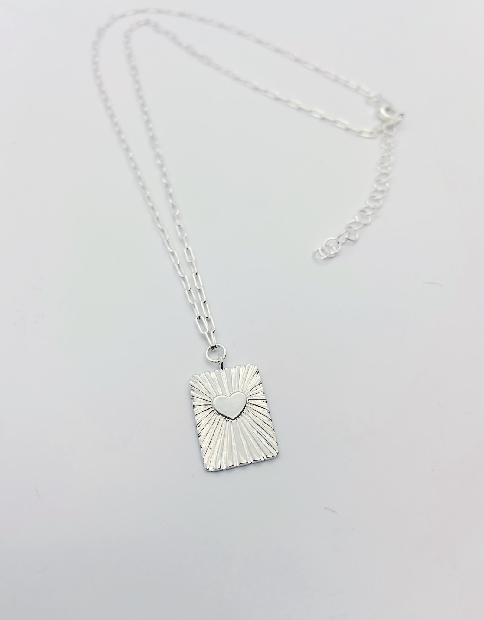 Silver Tablet with Heart with Rays Parallel Chain Necklace