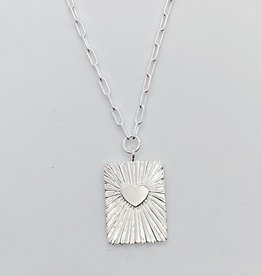 Tashi Silver Tablet with Heart with Rays Parallel Chain Necklace