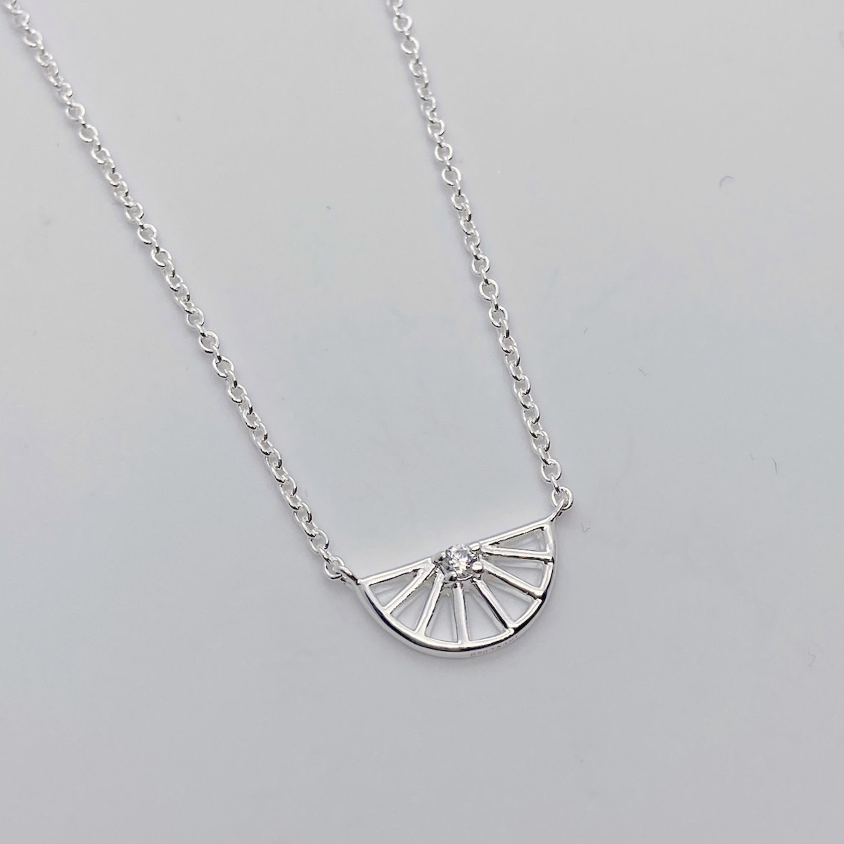 Silver Half Spoked Wheel with CZ Necklace