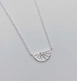 Tashi Silver Half Spoked Wheel with CZ Necklace
