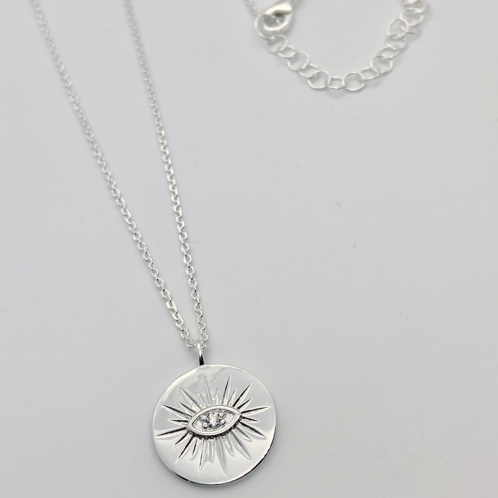 Silver Medallion with Eye Necklace