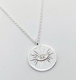 Tashi Silver Medallion with Eye Necklace