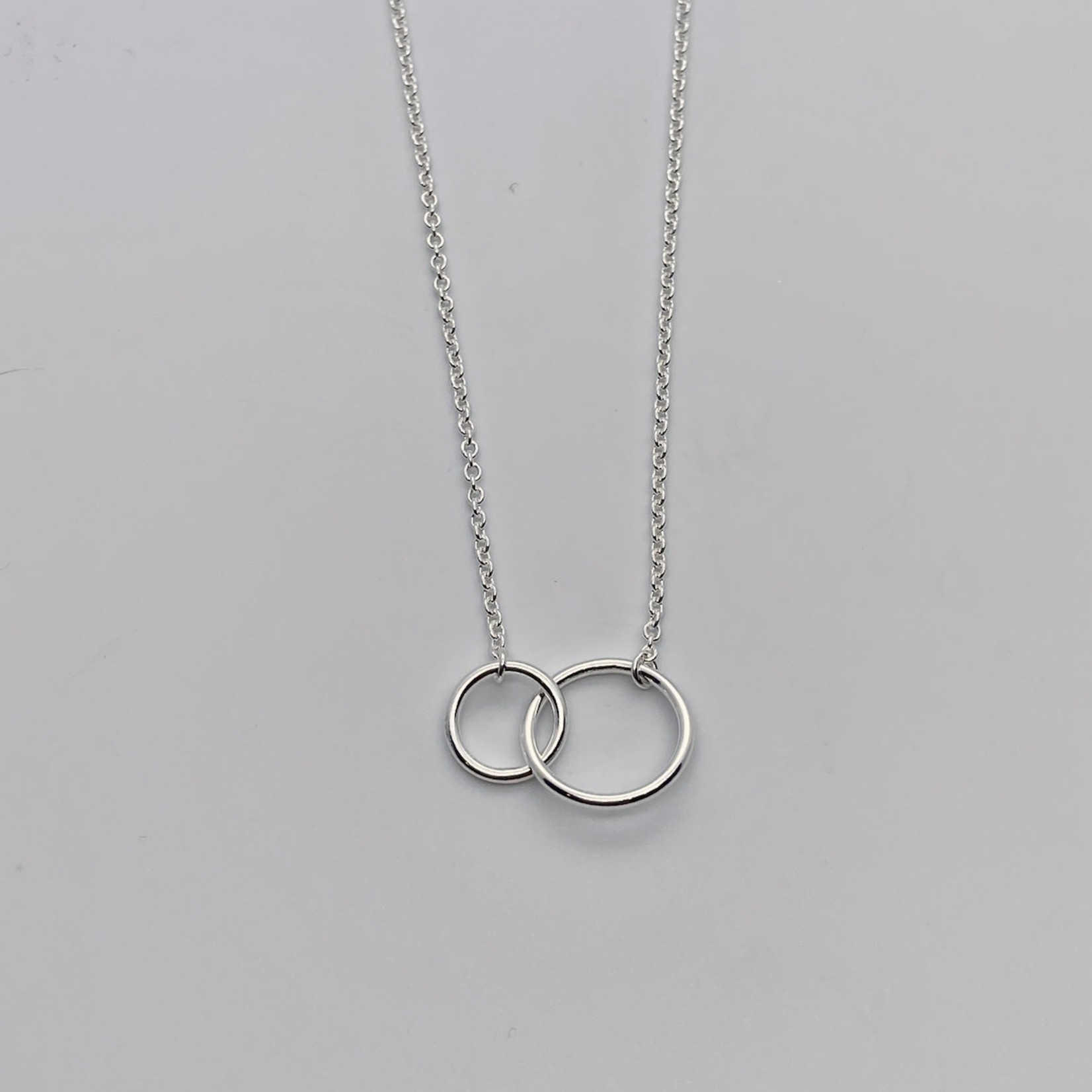 Sterling Silver Small 2 Circle Necklace
