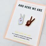 Peace Hands Enamel Pin Set of 2