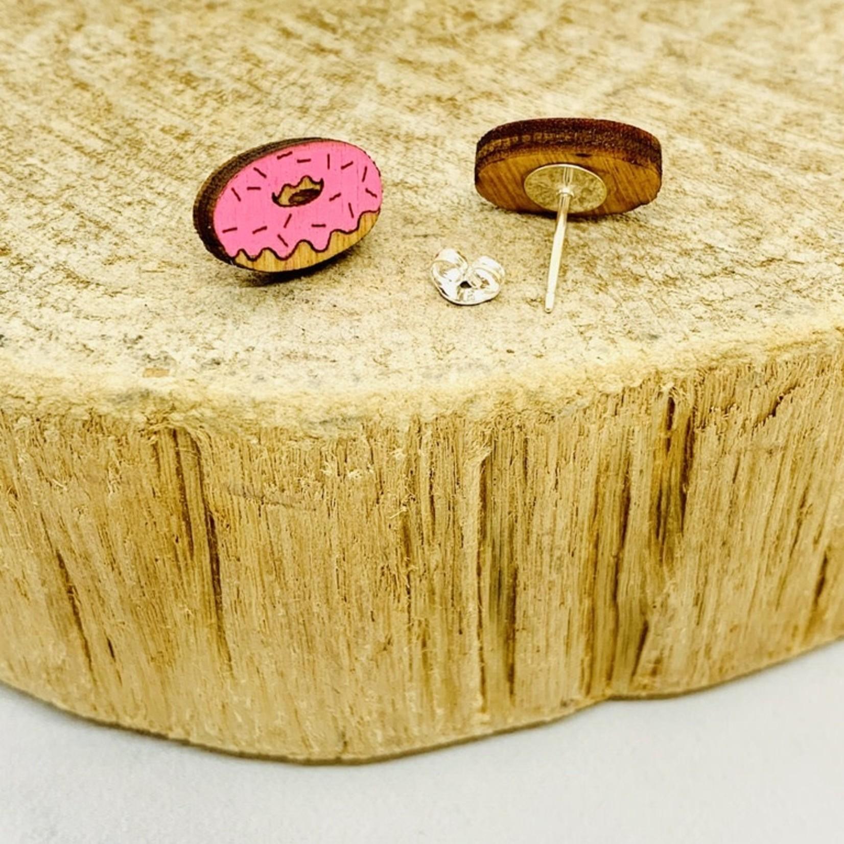 Handmade Donut Lasercut Wood Earrings on Sterling Silver Posts