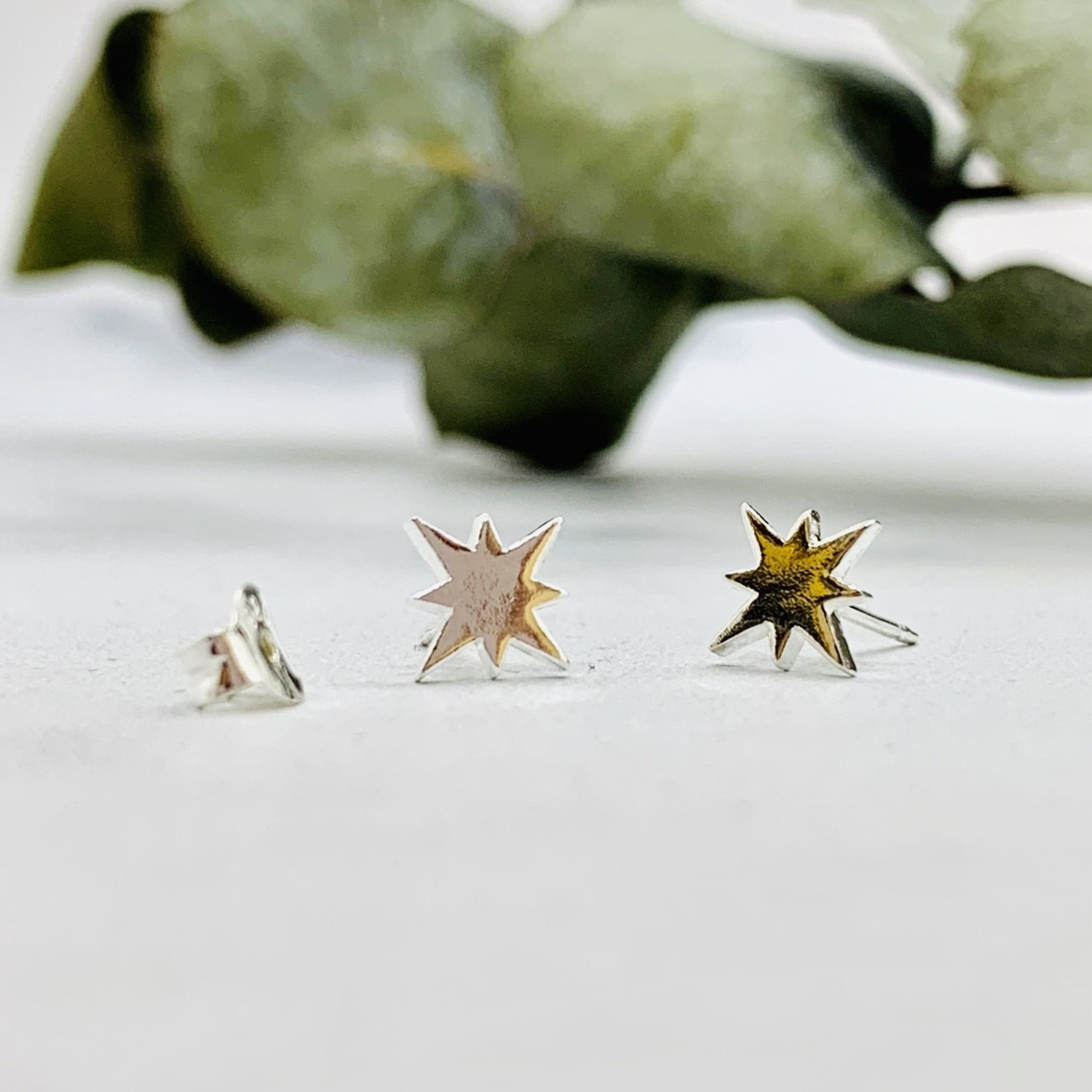 8-point Star Stud Earrings, Silver
