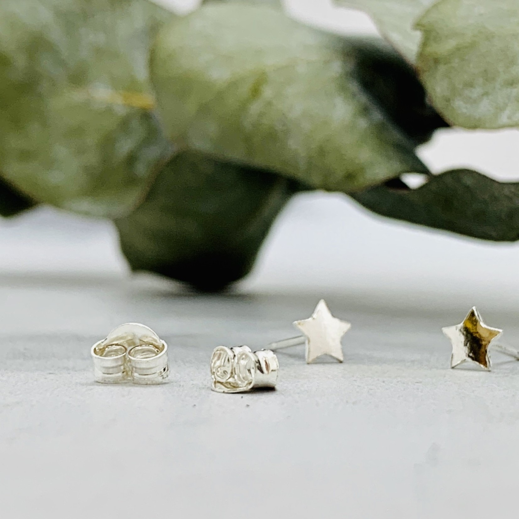 Star Stud Earrings, Sterling Silver