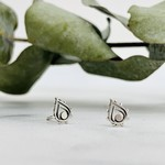 Fancy Teardrop Stud Earrings, Sterling Silver
