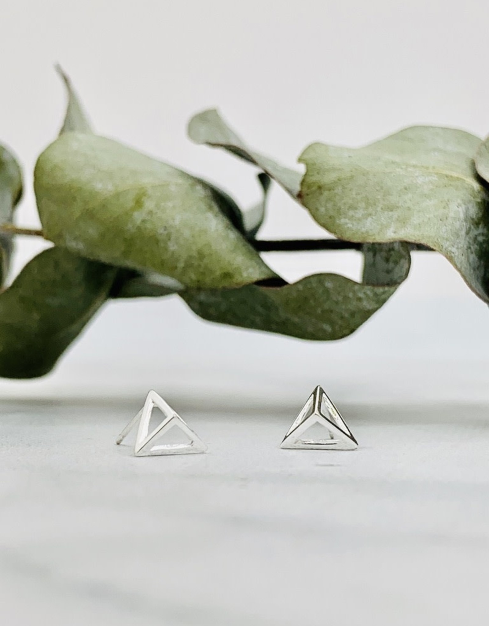 Pyramid Outline Stud Earrings, Silver