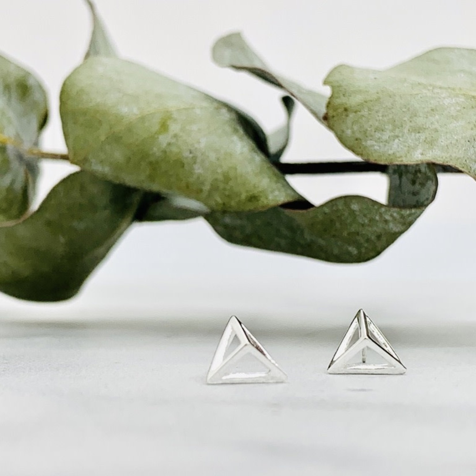 Pyramid Outline Stud Earrings, Sterling Silver