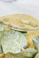Sterling Silver Handstamped Walk with Nature John Muir Quote Bracelet
