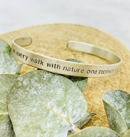 Sterling Silver Handstamped Walk with Nature John Muir Quote Bracelet