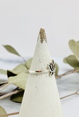Silver Lotus Outline Ring