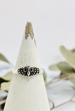 Silver Feathery Owl Ring