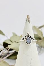 Silver Teardrop Moonstone Tiara Ring