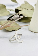 Large Crescent Moon and Star Ring