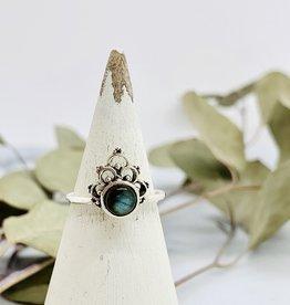 Silver Crowned Labradorite Ring