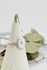 Silver & CZ Sunray Disc Ring