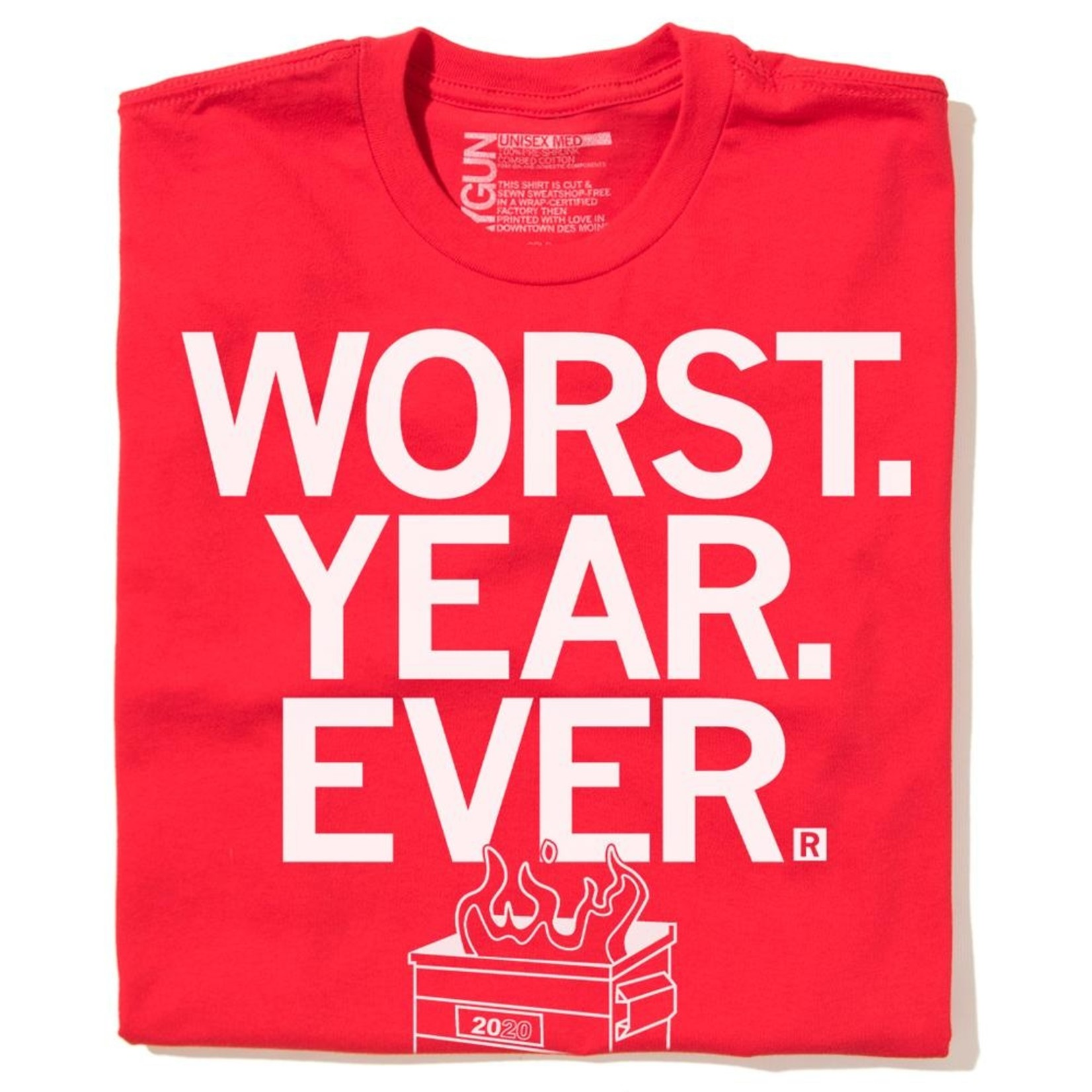Worst Year Ever 2020 Dumpster Fire Unisex Tee Red