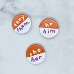 Orange Pronoun Pin
