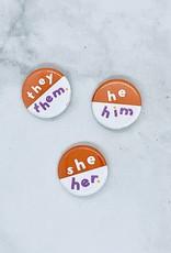 Orange Pronoun Pin