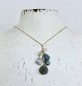 "Handmade 14K Goldfill 24"" Necklace with Cascade of Moonstone and Labradorite"