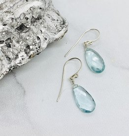 Handmade Moss Aquamarine Gemstone Drop Silver Earrings