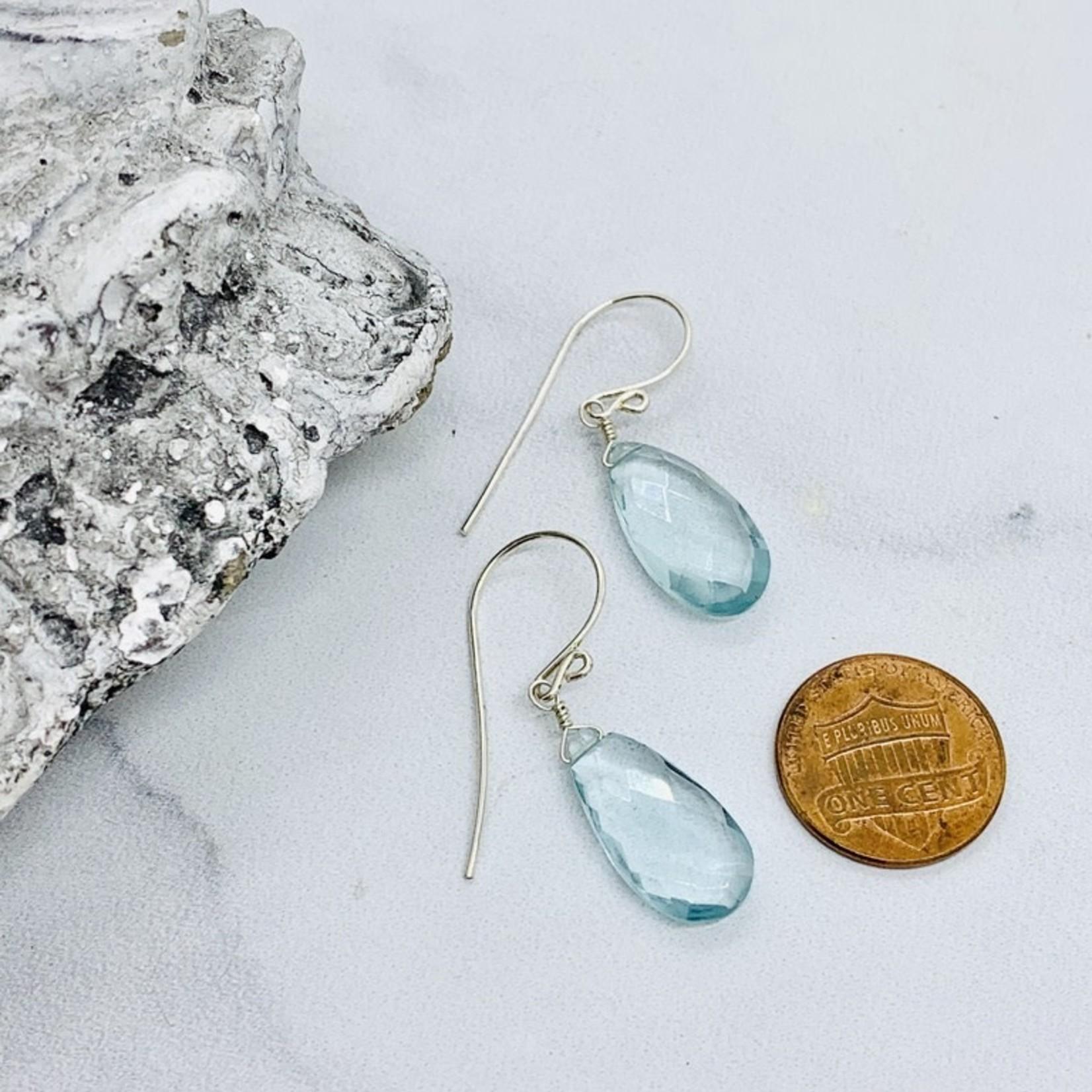 Handmade Moss Aquamarine Gemstone Drop Silver Earrings