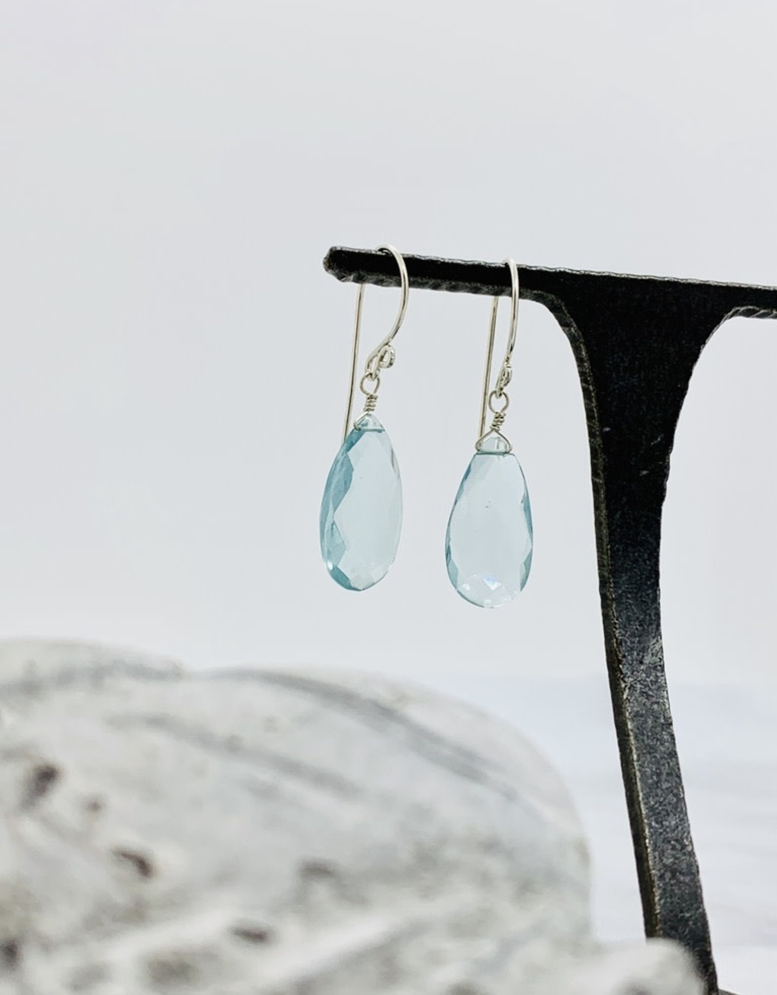 Locally Handmade Gemstone Drop Earrings Sterling Silver Moss Aquamarine