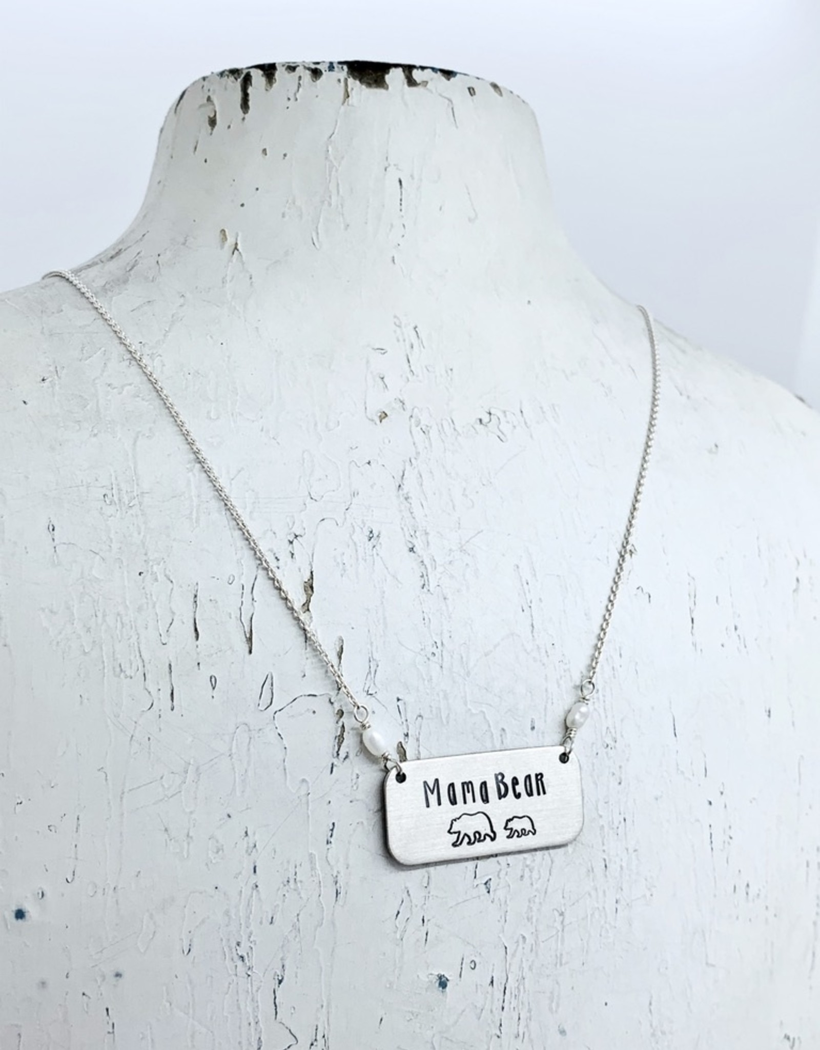Handstamped Mama Bear With Cubs and Fresh Water Pearl Necklace