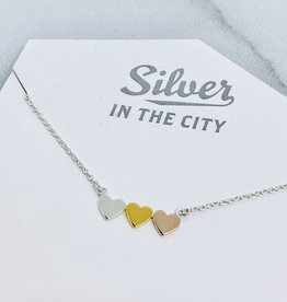 """Sterling Silver and Mixed Metals 3 Hearts Necklace, 16+2"""""""