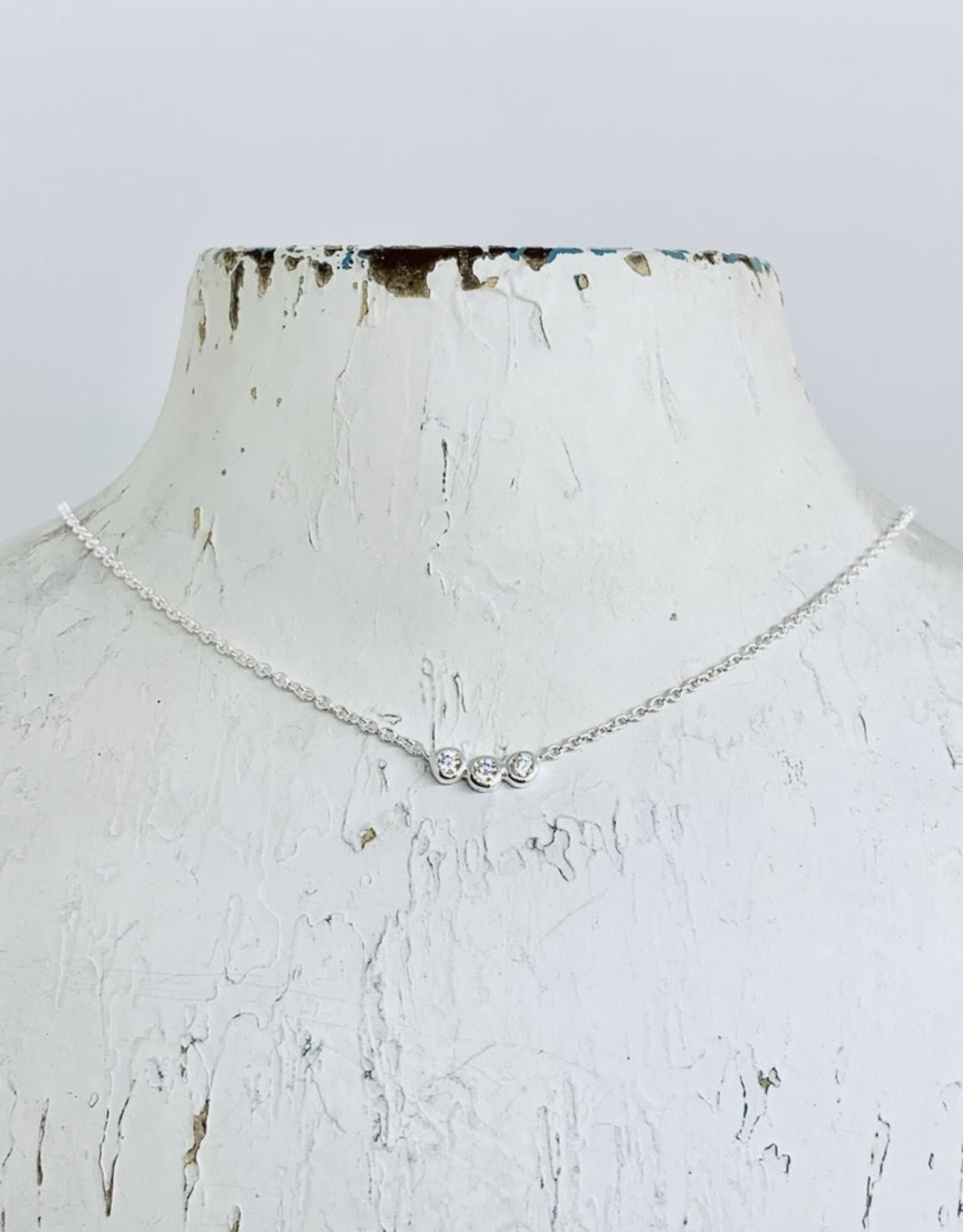 Sterling Silver Necklace with 3 Bezel Set CZs