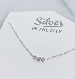 Sterling Silver Necklace with 3 Bezel Set CZs