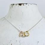 Sterling Silver Tri Tone Hearts Necklace