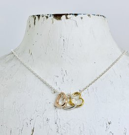 Sterling Silver Tri Tone Hearts Necklace