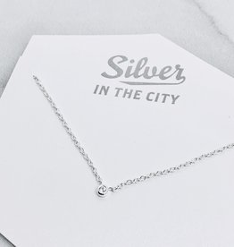 Sterling Silver Tiny CZ Solitaire Necklace