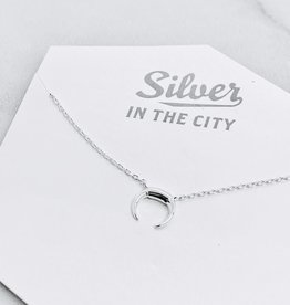 Sterling Silver Mini Crescent Moon Necklace