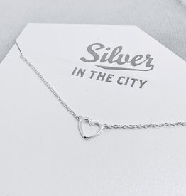 Sterling Silver Matte Cutout Heart Necklace