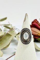 Oxidized Silver and Moonstone Shield Ring