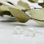 Headphone Stud Earrings, Silver