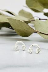 Headphone Earrings, Silver