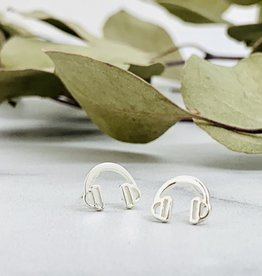 Headphone Earrings, Silver