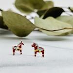 Red Enamel Dala Horse Stud Earrings, Silver