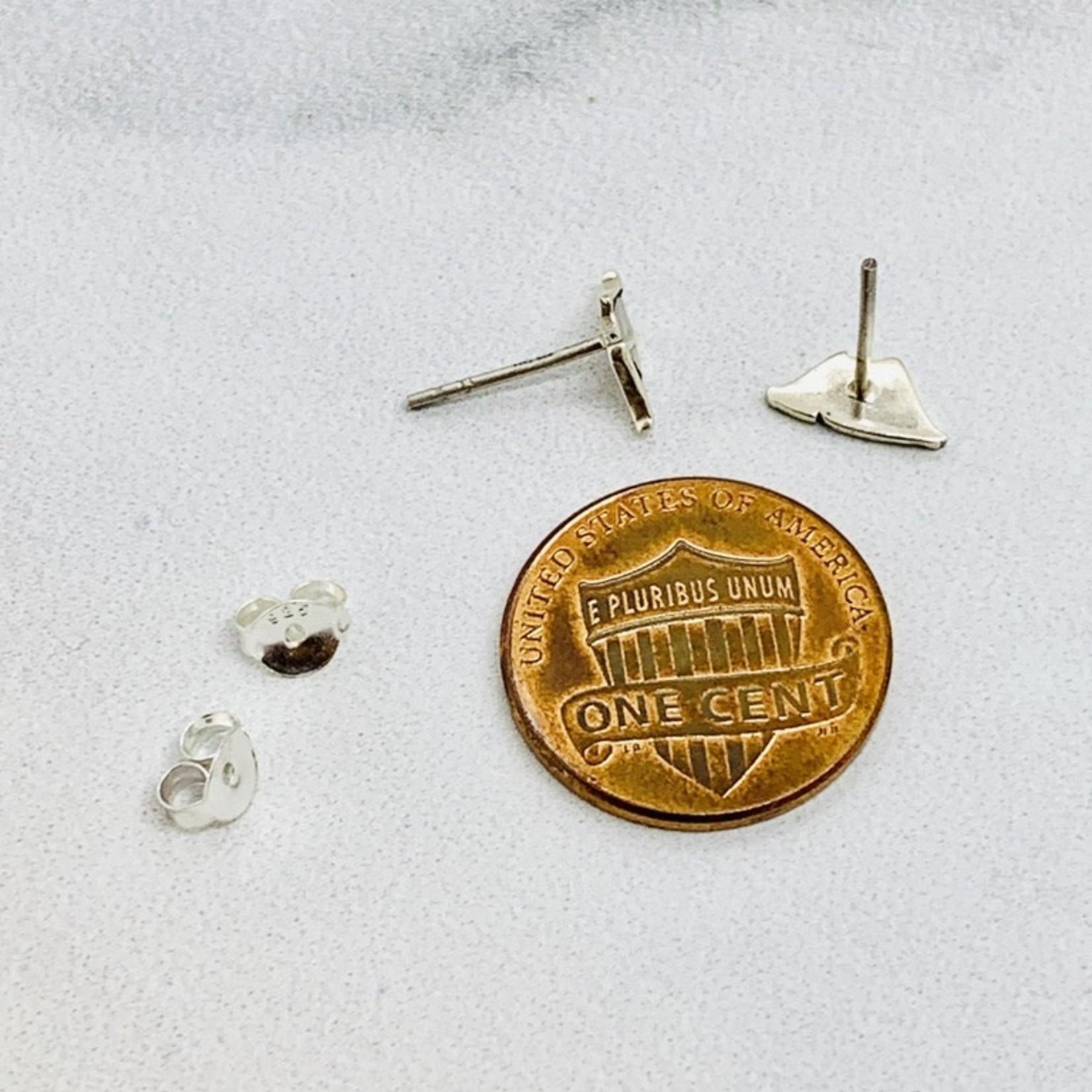 Tent Stud Earrings, Silver
