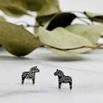 Dala Horse Stud Earrings, Oxid. Silver
