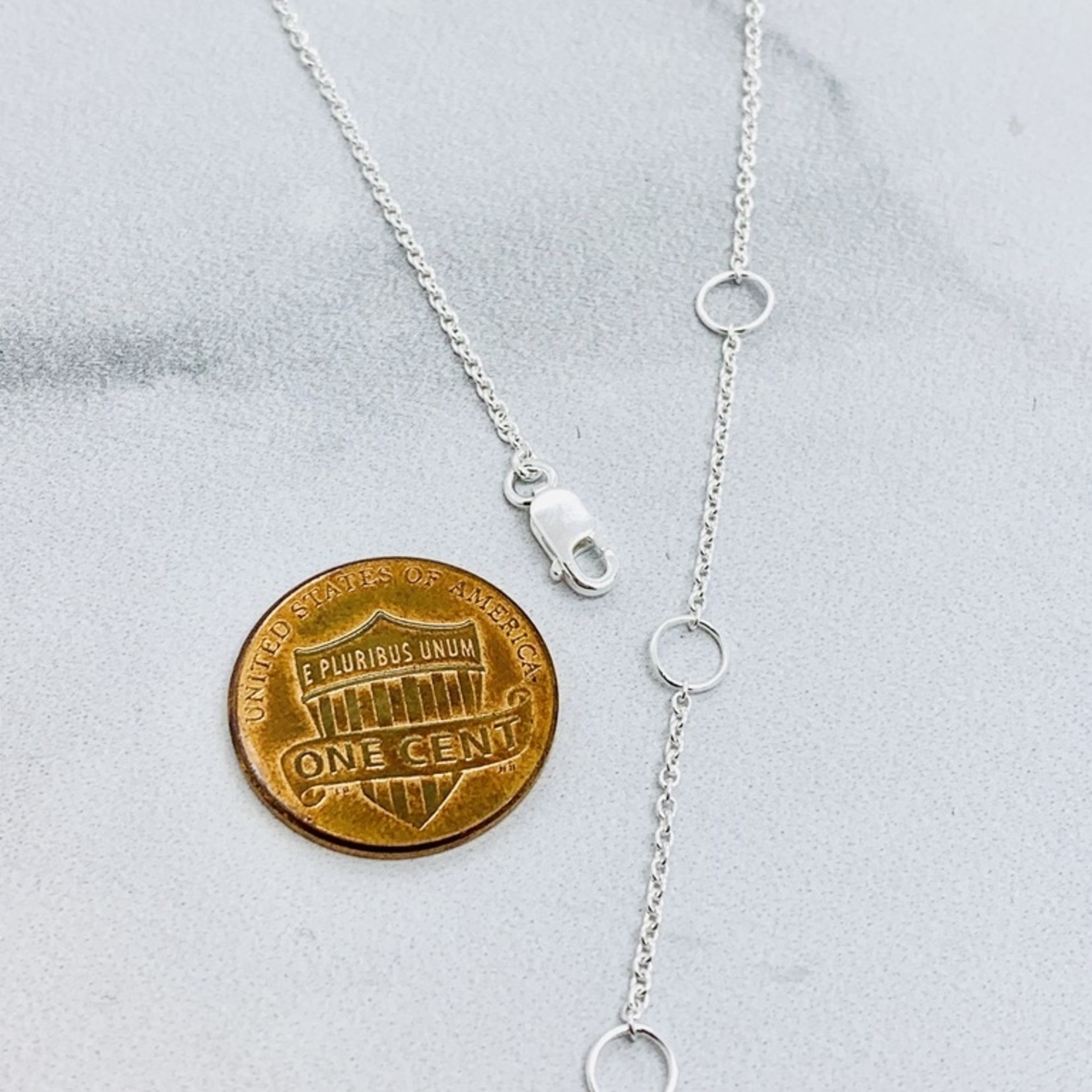 Brushed Sterling Silver Curved Bar necklace with Bezel Set CZ above