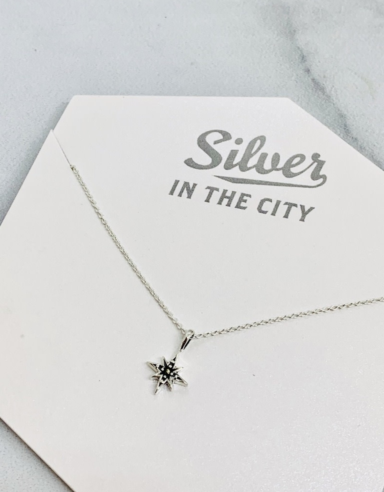 """Sterling Silver and Marcasite North Star Necklace, 18"""""""