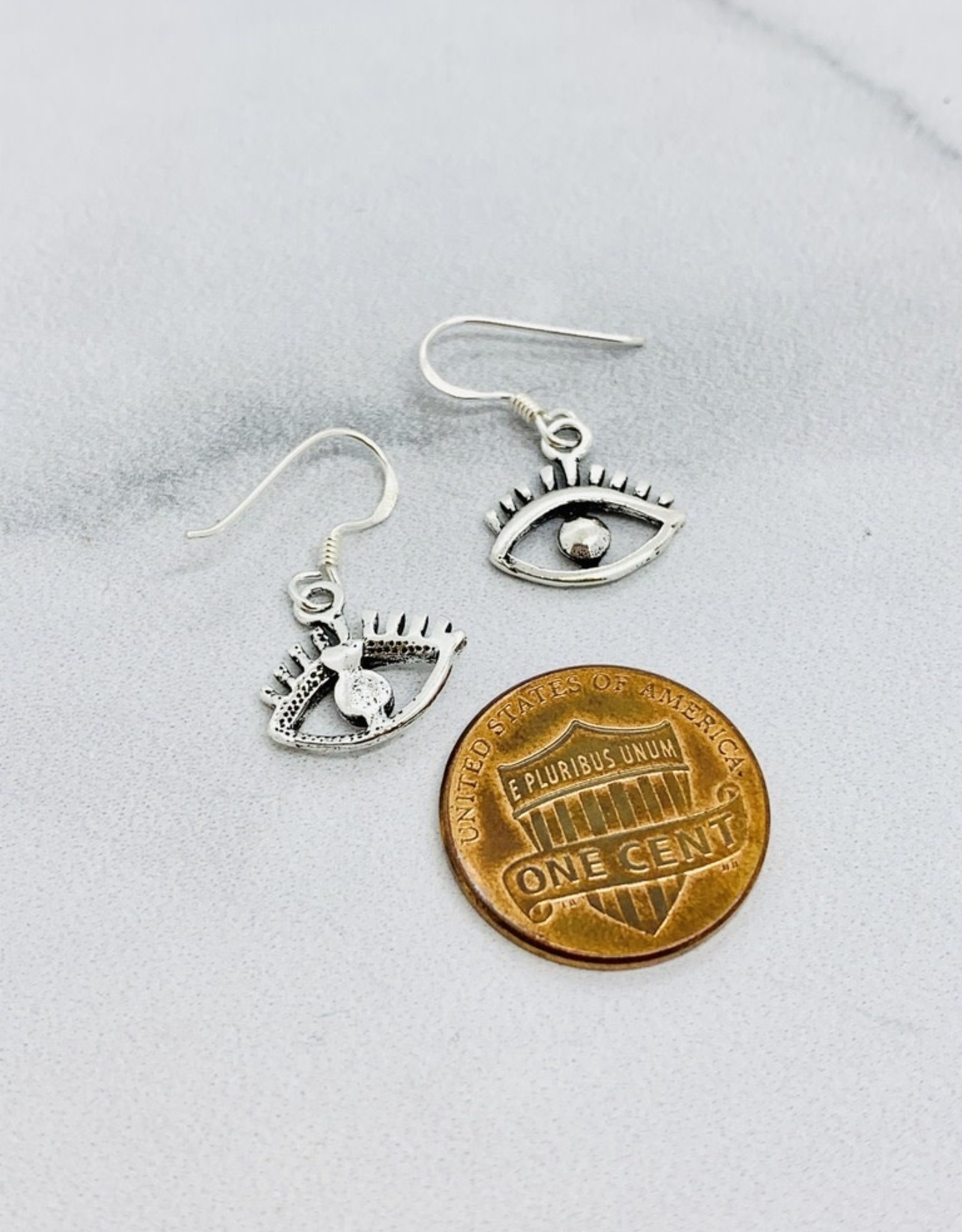 Silver Wide Eye Dangle Earrings