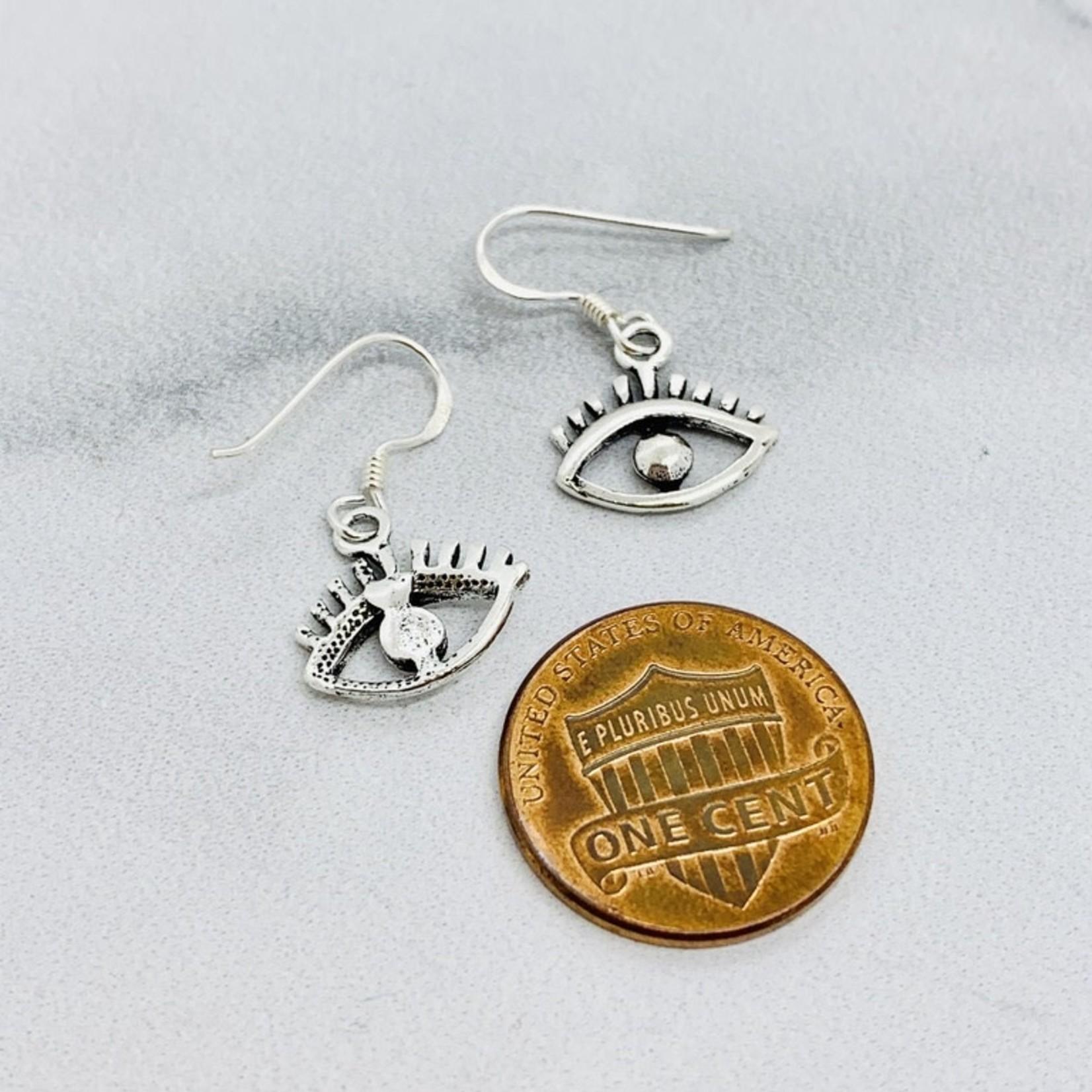 Silver Wide Eye Dangle Earrings