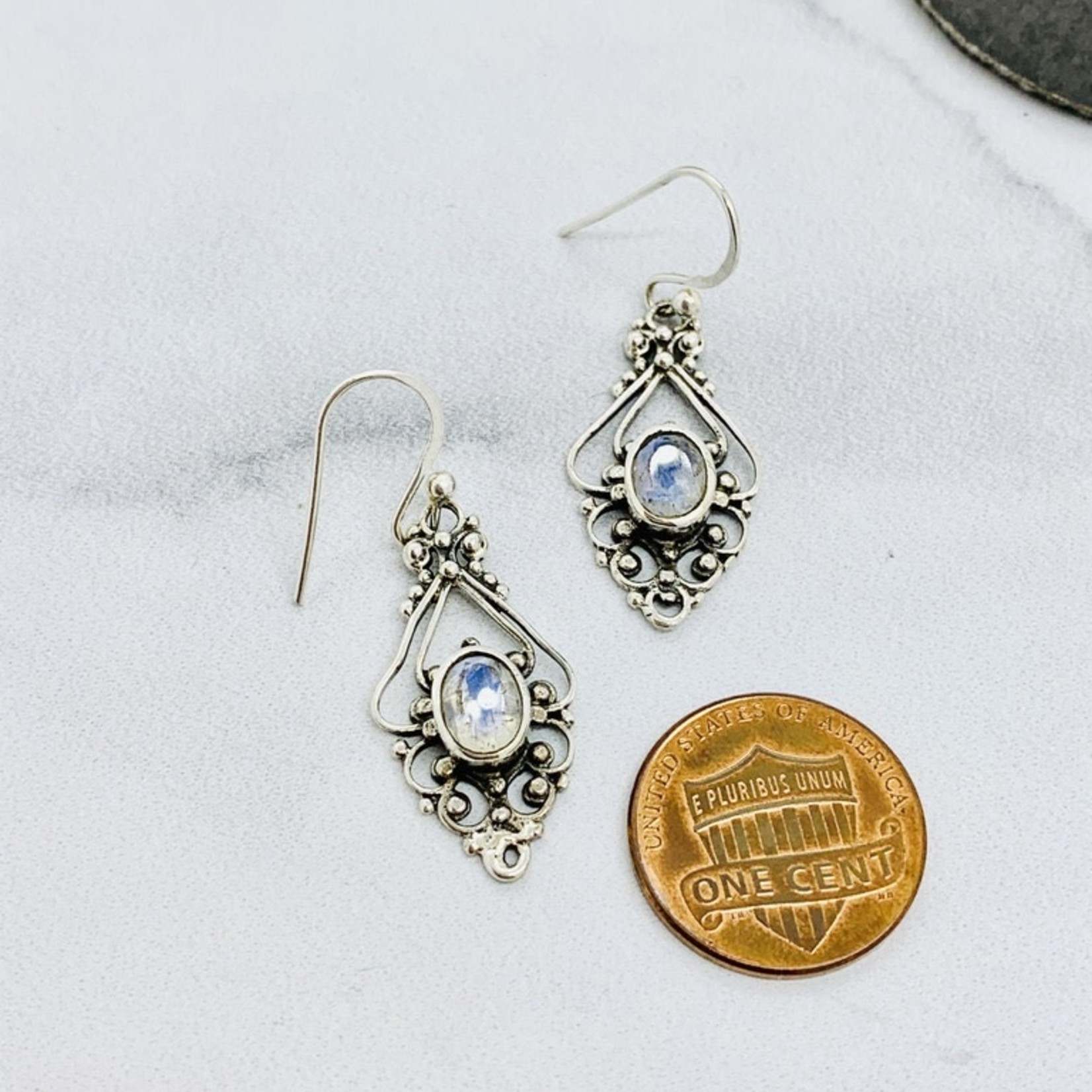 Sterling Silver Ornate Granulated Earrings with Rainbow Moonstone